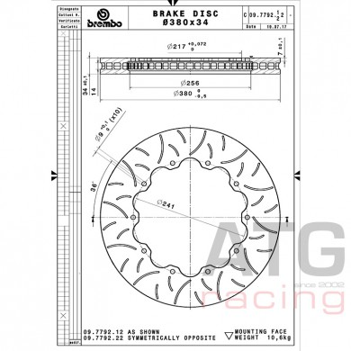 Brembo Racing Disc 380x34 09779222 / 09.7792.22
