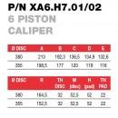 Brembo Racing 6 Kolben Sattel XA6H701