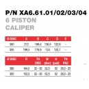 Brembo Racing 6 Piston FORGED Caliper XA66101
